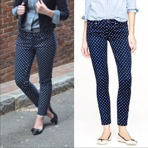 J crew polka dots toothpick ankle jeans